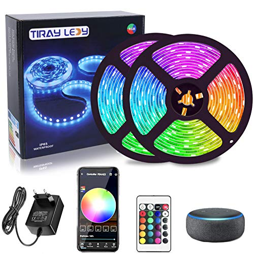 10M Tiras LED Inteligente Wifi, Tiray Ledy compatible con Alexa, Google home, 5050 LED 16 millones de colores, Control por App, Tira led musical para casa, cocina, TV, fiesta, para iOS y Android