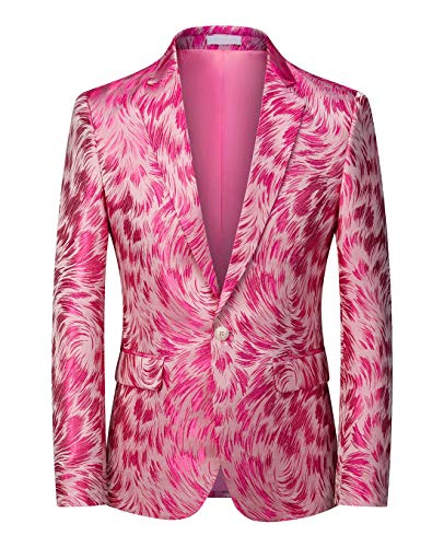 MOGU Mens Blazer Slim Fit Sport Coats for Daily Prom Party US Size 40 Pink
