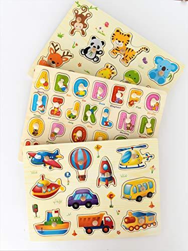 MABY - Juego de 3 Rompecabezas Puzzle de Madera, Alfabeto, vehiculos y Animales. Educativos y Divertidos para Niños. motricidad Fina Montessori Aprendizaje Preescolar Colores Vibrantes