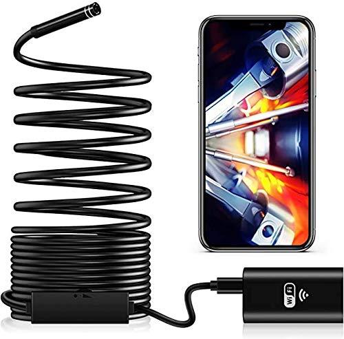 TTKU - Endoscopio inalámbrico wifi 8,0 mm 720p cámara USB impermeable endoscopio para coche, teléfono, PC, portátil, cable de 5 m