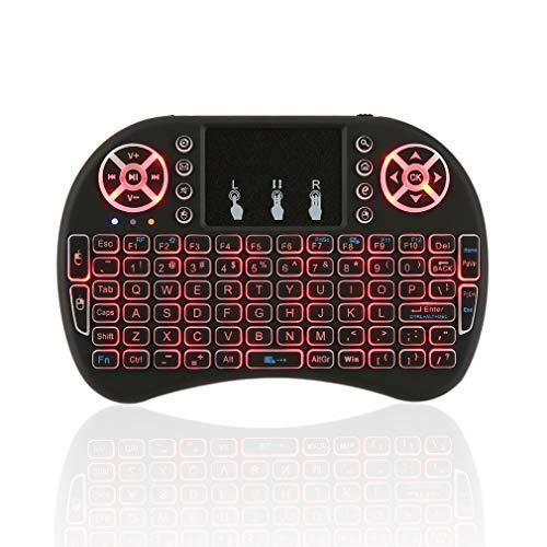 2,4 GHz 7 kleuren mini toetsenbord draadloze afstandsbediening 92 sleutels met touchpad muis kleurrijke achtergrondverlichting voor Android TV Box