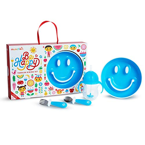 Munchkin Be Happy Toddler Dining Set, Includes Suction Plate, Straw Cup and Utensil Set, Blue