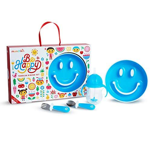 Munchkin Be Happy - Juego de comedor para niños pequeños, incluye plato de ventosa, taza de pajita y juego de utensilios, Azul