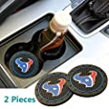 2pcs Texans Car Cup Holder Coasters Car Interior Accessories, for BMW Toyota Mercedes Benz Chrysler Audi Lexus Honda Nissan Jeep Cadillac All Car