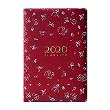 HYAN Oficina 2020 Horario Exquisito Grueso Cuaderno clásico A5 Notebook Mano Libro PU Persona Diario semanal planificador de la Agenda Organizador (Color : Red)