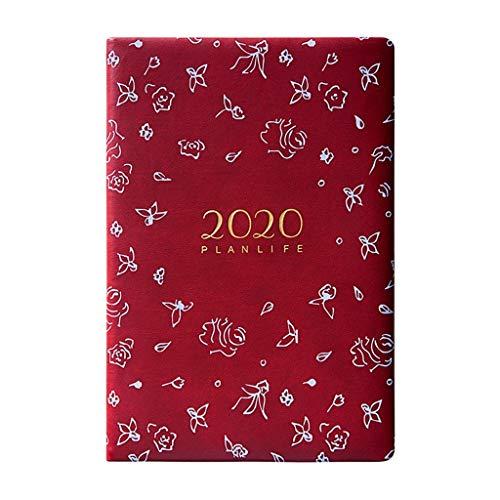 Cuaderno Creativo Oficina 2020 Horario exquisito grueso cuaderno clásico A5 Notebook Mano libro PU Persona diario semanal planificador de la agenda Organizador Cuaderno Temático ( Color : Red )