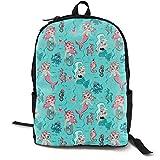 Babydoll Mermaids On Blue - MEDIUM Adult Premium Travel Backpack, Water-Resistant College School...