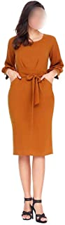 with Pockets Women's 3/4 Sleeve Crew Neck Bodycon Dress (Color : Khaki, Size : M)