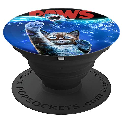 Monster Tabby Cat Ambush Great White Shark in the Ocean PopSockets Grip and Stand for Phones and Tablets