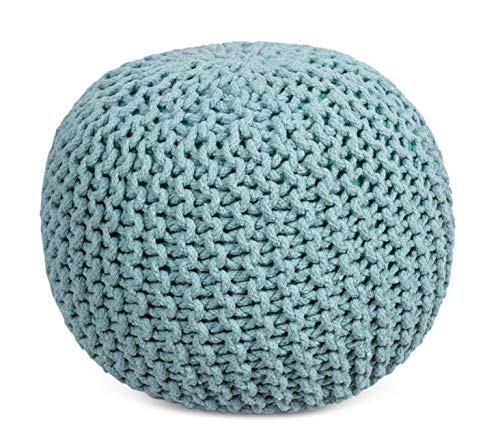 BIRDROCK HOME Round Pouf Foot Stool Ottoman - Knit Bean Bag Floor Chair - Cotton Braided Cord - Great for The Living Room, Bedroom and Kids Room - Small...