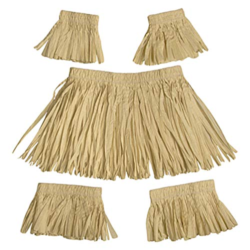 Amosfun - 5 piezas Hawaii hula falda de hierba natural Raphia Tassel Hula vestido hawaiano luau fiesta fiesta de rendimiento disfraz para niños adultos verano vestido de fiesta de playa