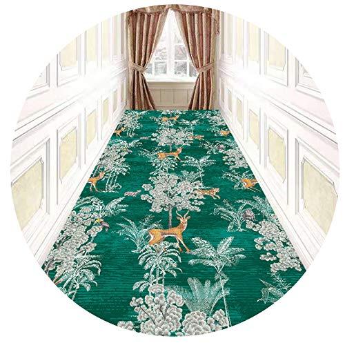 Alfombra de Pasillo Alfombra de Pasillo con Motivos Florales 3m / 4m / 5m / 6m / 7m de Largo, Alfombra de Área Moderna, Alfombrillas Multiusos para Pasillo de Entrada, Escalera, Lavable,Verde,1.4*3m