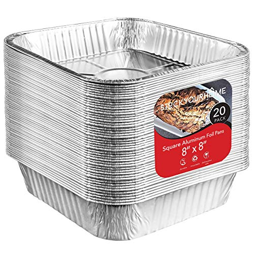 Aluminum Pans 8x8 Disposable Foil Pans (20 Pack) - 8 Inch Square Pans - Tin Foil Pans Great for Cooking, Heating, Storing, Prepping Food