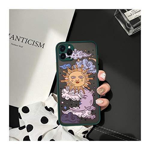 KEHUITONG PSWK Jamular Funny Sun Moon Face Funda a Prueba de Golpes para iPhone 11 / Pro / 12/7 / XS/MAX/X/XR / SE20 / 8 / Plus TPU Matte CUCHE CUBIERTE (Color : Style 8, Material : For iPhone 6 6s)