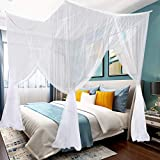 King Canopy Bed Curtains 4 Corner Post Queen Canopy Bed Decor Frame Bed Tents for Girls, Single Bed Canopy for Cribs or Adult Bedroom Kids Rooms Bassinet, Camping Lights Screen Netting Curtains, White