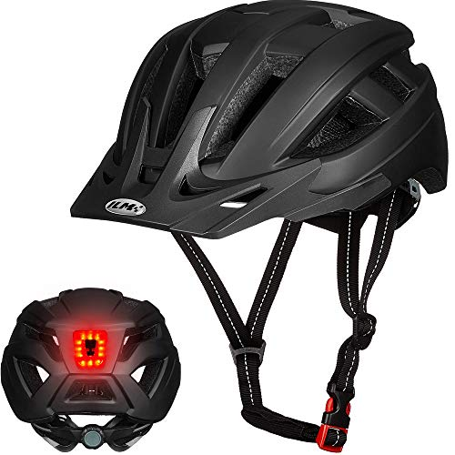 ILM Adult Cycling Bike Helmet with LED Rear Light Lightweight for Men Women Urban Commuter MTB Bicycle (Black, S/M)