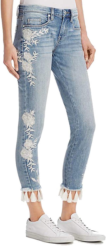 [BLANKNYC] Embroidered TasselHem Skinny Jeans in bluee