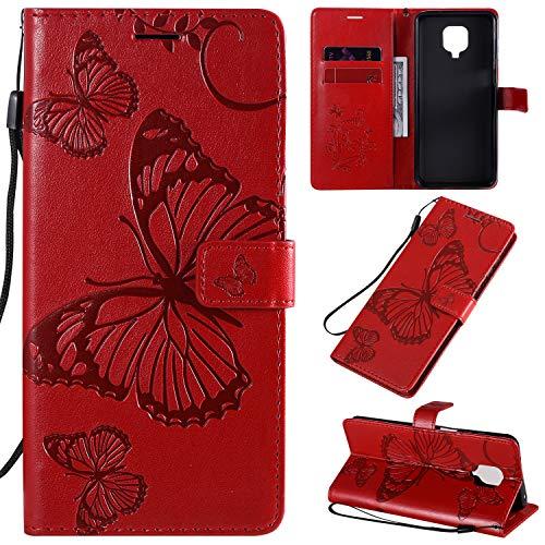 SMYTU Coque Xiaomi Redmi Note 9s/Note 9 Pro,Rouge Housse en Cuir Case Xiaomi Redmi Note 9s,Protection Portefeuille TPU Silicone Case Cover de Magnétique for Xiaomi Redmi Note 9s/Note 9 Pro (B-Rouge)
