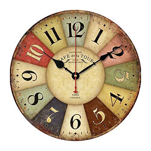 Luyfsxb Reloj de Pared Patrón Reloj De Pared De Madera Retro Números Romanos Relojes Colgantes Relojes De Cuarzo Silenciosos Oficina En Casa Café Decoración Arte Pared Grande