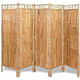 vidaXL Biombo Divisor con 5 Paneles Bambú Dimensiones 200x160 cm Color Marrón