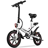 Electric Bike, Sailnovo Electric Bicycle with 15.6mph 26Miles Electric Bikes for Adults Teens E Bike with Pedals, 14' Waterproof Folding Mini Bikes with Dual Disc Brakes, 36V 10Ah Lithium Battery
