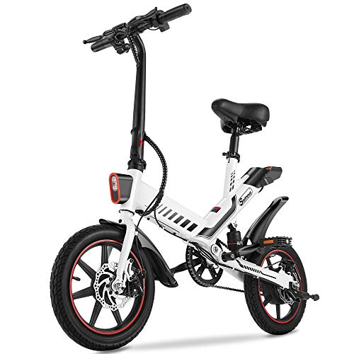 """Electric Bike, Sailnovo Electric Bicycle 350W Electric Bikes for Adults Teens E Bike with Pedals, 14"""" Waterproof Folding Mini Bikes with Dual Disc Brakes, 36V 10Ah Lithium-Ion Battery (Polished White)"""