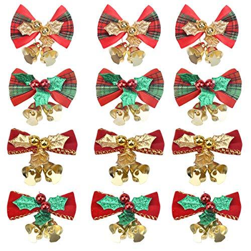 NATUCE Lazo de Árbol de Navidad, Rojo Lazo de Navidad con Campana, Lazo de Cinta para Árbol de Navidad, Decoración de Regalo, Adornos de Lazo de Cinta Colgante de Árbol de Navidad (5CM-12PCS)