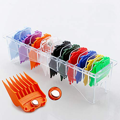 """Updated Version 10 Pcs Magnetic Hair Clipper Combs Guides with Organized Tray, Wahl Replacement Guards Set 1/8'' to 1"""" Fits Most Size Wahl Clippers/Trimmers, Radom Colors"""