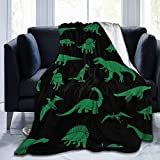 CGIU-Greatmall Flannel Fleece Blanket, Lightweight Shaggy Throw Blanket, Comfort King Size Cartoon Green Dinosaur Lesothosaurus Animal Bedspreads for Kids Couch Home Decor Travel, 60x50