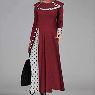 Retro Ladies Long Skirt Sexy Double Card Polka Dot Print Long Skirt