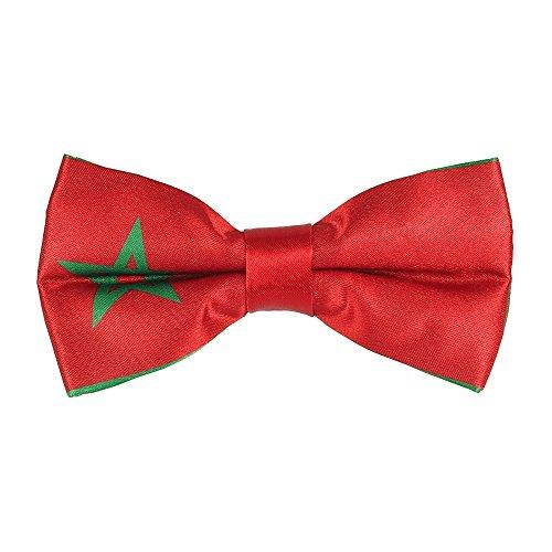 CravateSlim Noeud Papillon Drapeaux du Monde - Noeud Papillon Homme Prénoué (Drapeau Marocain)