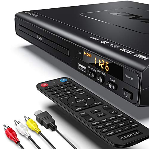 ELECTCOM DVD Player, CD Player (1080p Upscaling, HDMI Kabel-0.91m, USB-Eingang, Xvid/MP4 Playback, Dolby Digital, Alle Regionen frei)