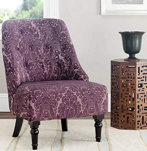 Media Room Chairs- Slipper Chair- Purple Floral Motif Armless Club Chair- Lovely Color and A Soft, Cozy Seat