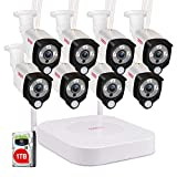 [2 Way Audio] Tonton 1080P Full HD Security Camera System Wireless,8CH NVR Recorder with 1TB HDD and 8PCS 2MP Outdoor Indoor Bullet Cameras with PIR Sensor,True Plug and Play,Easy Installation(White)