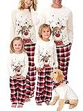 Christmas Family Matching Pajamas Set Parent-Kid Sleepwear Xmas Deer Tee Red Plaid Bottom Dad Mom Kids Pjs (White-Mom, S)