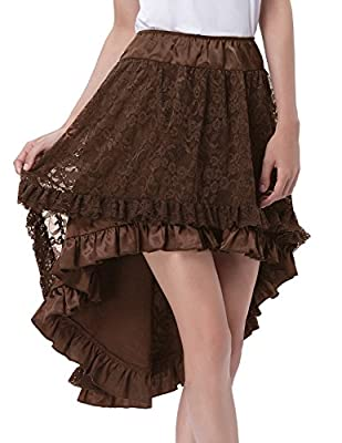 Belle Poque Women's Gothic Elastic 2-Layer Knee Length Tulle A-Line Party Prom Skirt