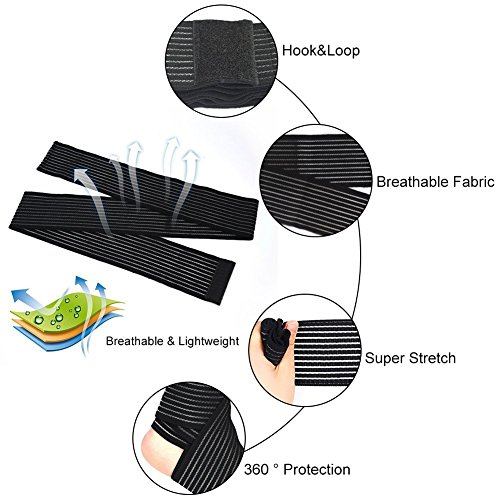 Sportbandage, für Knie, Oberschenkel oder Wade, zur Kompression bei Verletzungen und Schmerzen, schwarz, hohe Elastizität, 1 Stück - 5