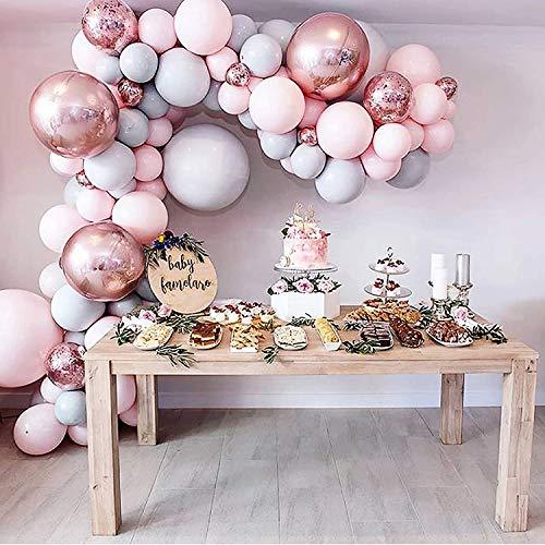 Luftballons Rosa Grau Pastell, Metallic Luftballons Rosegold für Mädchen Geburtstagsdeko Babyparty Hochzeit Geburtstag Taufe Party