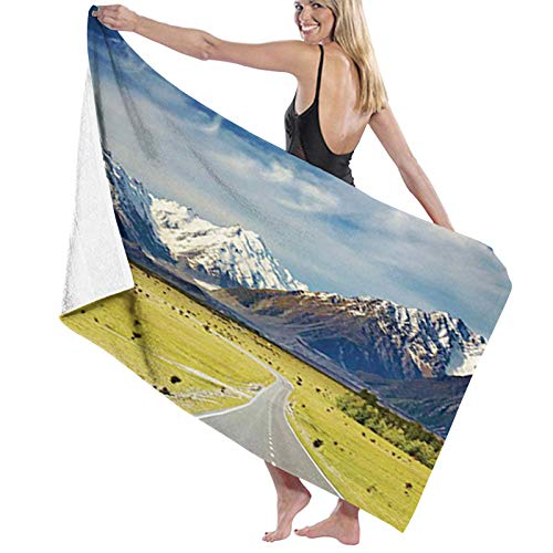Microfiber Beach Towel Quick Dry Pool Towel,Landscape with Road and Snow Capped Mountains Southern Alps New Zealand Picture,Lightweight Camping Towel Suitable for Adults Women Men