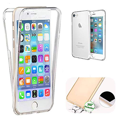 LCHDA Funda iPhone SE,Cristal Claro TPU Completa 360 Grados Protección Doble Cover Transparente Silicona Funda Carcasa con Protector de Pantalla para iPhone 5/5S,Claro