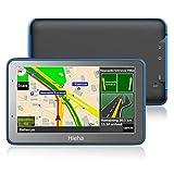5' GPS Voiture Auto Moto 8GB, Hieha Appareil de Navigation Ecran Tactile, Instructions Vocales, Système de Navigation avec Multi-Languages (Cartographie d'europe Mode à Vie)