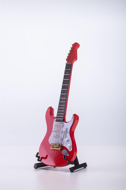 ALANO Adorno de guitarra eléctrica en miniatura, réplica en miniatura, instrumento musical, decoración de festival (rojo, 18 cm)