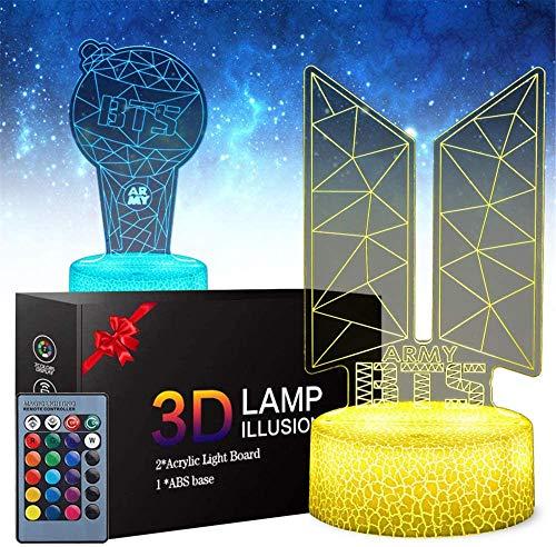 Lámpara de ilusión LED 3D BTS Bangtan 3D Luz de noche, 16 colores de control táctil para decoración de fiestas, lámpara visual 3D para decoración del hogar, regalos de cumpleaños de Navidad