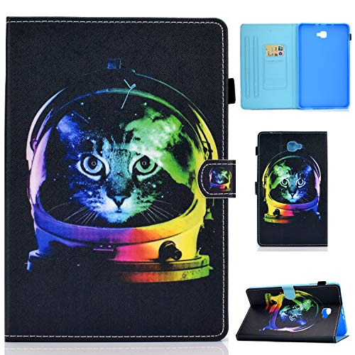 Auslbin Funda para Samsung Galaxy Tab A 10.1' T580/T585,Ultra Slim PU Cuero Funda Flip Casos con Función de Soporte y Auto Sleep/Wake Up,Gato Espacial