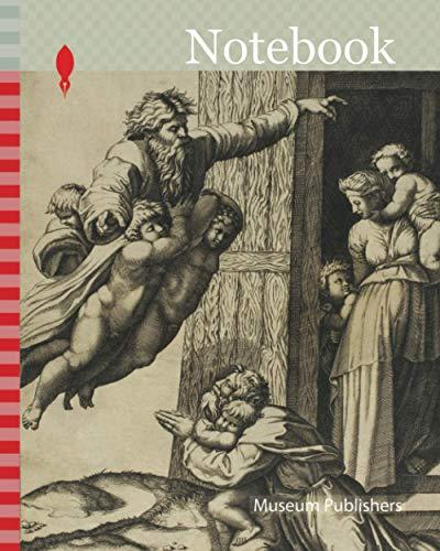 Notebook: God Commanding Noah to Build the Ark, 1520, Marco Dente da Ravenna (Italian, about 1486–1527), after Raffaello Sanzio, called Raphael ... Italy, Engraving in black on tan laid paper