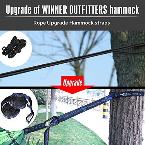 "51eFHrJoIUL - WINNER OUTFITTERS Double Camping Hammock - Lightweight Nylon Portable Hammock, Best Parachute Double Hammock for Backpacking, Camping, Travel, Beach, Yard. 118""(L) x 78""(W), Dark Green/Green Color"