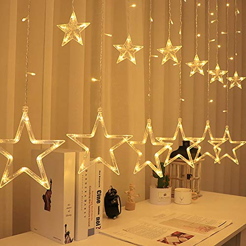 TYTUOO Decoración Cortina Cadena Luz LED Estrella Luna Luz Cálido Romántico Hermoso Accesorios Fairy Window Lights (AA, un tamaño)