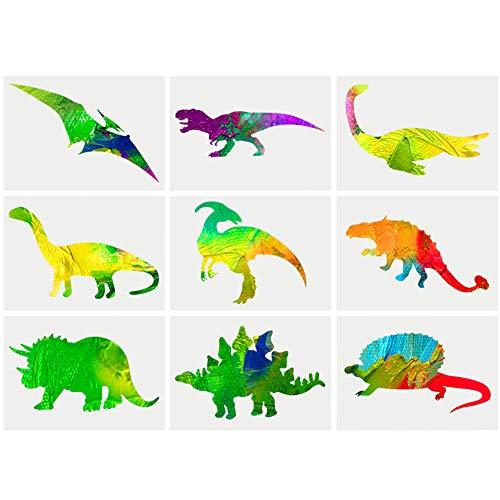 Thursday April Schablonen Dinosaurier Zeichenschablone Kunstoff für Kinder für das Malen auf hölzernem Wand-Glaspapier malen (9 Stück)