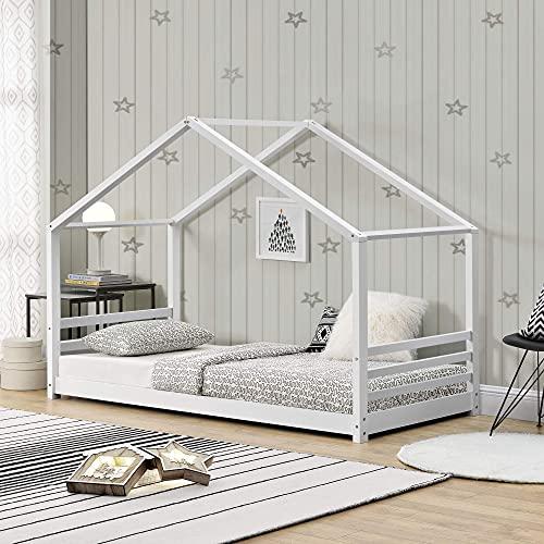 [en.casa] Cama para niños de Pino 200 x 90 cm Cama Infantil Forma de casa Blanco Mate