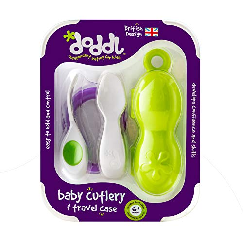 Doddl Baby Cutlery for Babies 6+ Months. Spoon and Fork Set for weaning and Learning to use Cutlery. Self-Feeding Cutlery for Babies & Toddlers